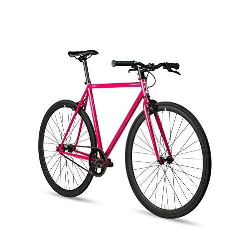 6KU Fixed Gear Single Speed Urban Fixie Road Bike, Fuchsia, 55cm/L