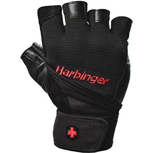 Harbinger Pro Wristwrap Weightlifting Gloves with Vented Cushioned Leather Palm (Pair), Large
