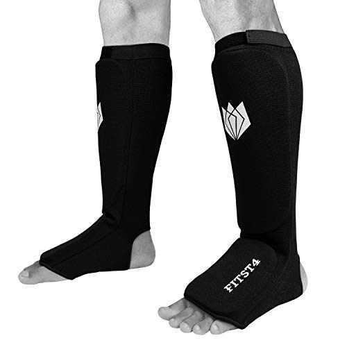 FitsT4 Kickboxing MMA Muay Thai Instep Padded Elastic Training Sparring Shin Guards Protector (1 Pair) L