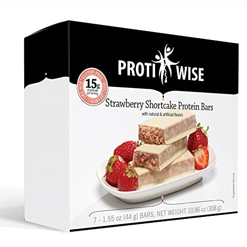 ProtiWise - 15g High Protein Weight Loss Bars for Any Diet (Strawberry Shortcake)   Low Calorie, Low Fat, Low Sugar (7/Box)