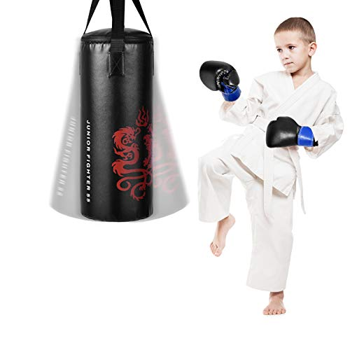 GYMAX Kids Punching Bag Set, Prefilled Junior Kick Boxing Bag Kit with Gloves & Jumping Rope, Heavy Duty Wall Mounted Punching Bag for Youth MMA, Martial Kongfu Thai Training