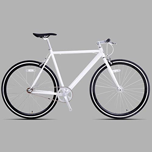 Hiland Fixed Gear Bike Single-Speed Fixie Urban Commuter Bicycle for Men and Women Road Hybrid Bike Adult Teenager Youth Boys Girls Bicycle 700C Wheels Bikes, White 54cm