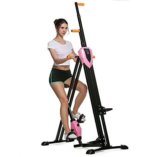 aolier Vertical Climber 2-in-1 Full Body Exercise Equipment 350 Lbs Folding Cardio Workout Stair Stepper Trainer for Home Gym 5 Height Levels Fitness Stair Climber with Digital Monitor (Pink)
