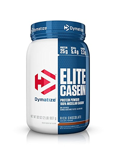 Dymatize Elite 100% Micellar Casein Slow Absorbing Protein Powder with Muscle Building Amino Acids, Perfect For Overnight Recovery, Slow Digesting, Rich Chocolate, 2 lbs