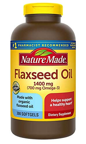 Nature Made Organic Flaxseed Oil, Omega-3-6-9 for Heart Health, 1400 mg, Liquid Softgels - 300 Count