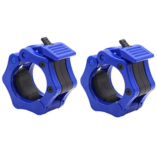 IADUMO 2 Inch Olympic Bar Clips Gym Quick Release Weight Collars Locking Barbell Clamps for Weightlifting Plate (Blue)