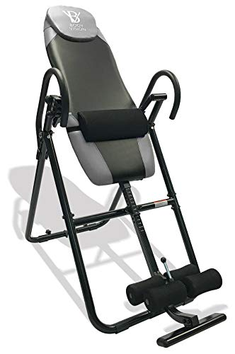 Body Vision IT9825 Premium Inversion Table with Adjustable Head Rest & Lumbar Support Pad, - Heavy Dutyup to 250 lbs., Gray