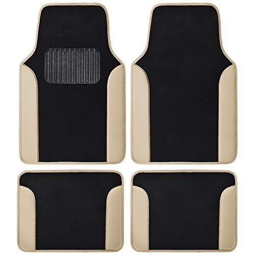 Beige Heavy Duty Front & Rear Carpet Floor Mats Universal Liners for Car SUV Van & Truck, All Weather Protection with Anti-Slip Nibs, Fit Contours of Most Vehicles