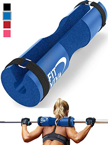Fit Viva Blue Barbell Pad for Standard and Olympic Barbells with Safety Straps Bonus 30 Day Challenge from Foam Pad for Weightlifting, Hip Thrusts, Squats and Lunges