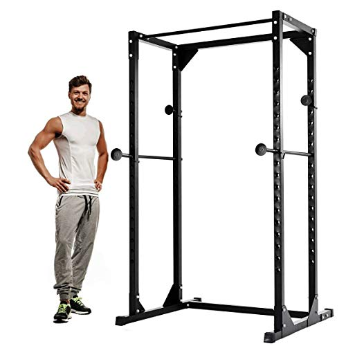 Goplus Power Rack Heavy Duty Adjustable Power Cage Multi-Function Fitness Squat Cage for a Complete Home Gym, Strength Training and Muscle Building (Black)