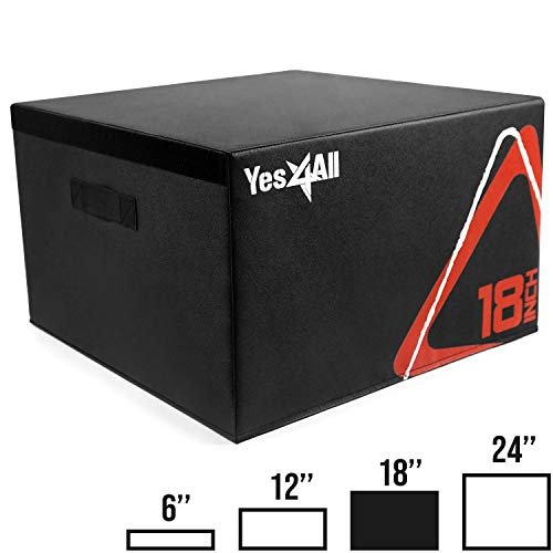 Yes4All Adjustable Soft Plyo Box – Available in 6, 12, 18 and 24-inch Box Sizes (C1. Black - 18')
