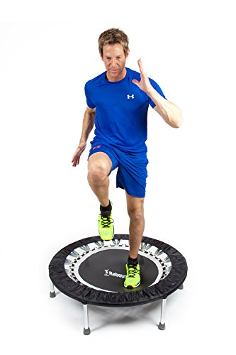Maximus Pro USA Home Gym Rebounder Mini Trampoline with Handle Bar   Includes 2 x Awesome Rebound DVD's 7 Workouts   Adults Indoors   Max 150kg   Exercise Fitness Trampoline   Already Assembled