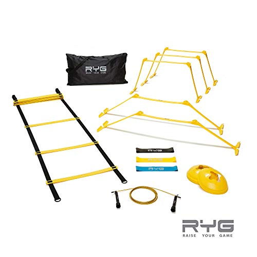 Raise Your Game RYG Speed Agility Training Set- Ladder, Cones, Hurdles, Explosiveness, Resistance, Exercise Equipment, Soccer, Football, Track Field, Basketball, Footwork, Workout Drills, Sport Train
