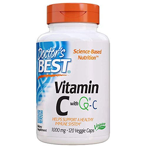 Doctor's Best Vitamin C with QualiC 1000 mg NonGMO Vegan Gluten Free Soy Free Sourced from Scotland Veggie Caps, 120 Count