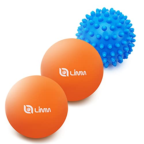 Limm Massage Ball Set - Lacrosse and Spiky Ball for Deep Tissue Trigger Point Therapy - Myofascial Release for Foot, Back, Shoulder and Neck Pain - Plantar Fasciitis Pain Relief Set