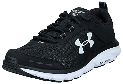 Under Armour mens Charged Assert 8 Running Shoe, Black/White, 11.5 US