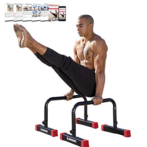 Rubberbanditz Parallettes Push Up & Dip Bars | Heavy Duty, Non-Slip Parallette Stand for Crossfit, Gymnastics, & Bodyweight Training Workouts