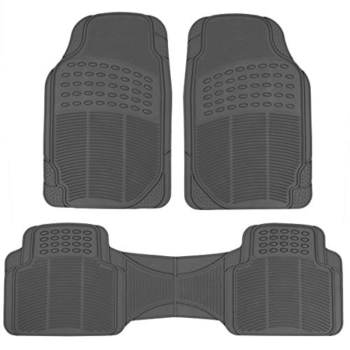 BDK-MT783PLUS ProLiner Original 3pc Heavy Duty Front & Rear Rubber Floor Mats for Car SUV Van & Truck, All Weather Protection Universal Fit, Gray