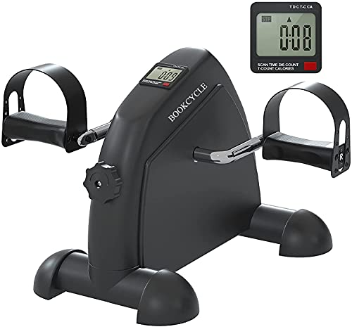 BOOKCYCLE Mini Exercise Bike Foot Pedal Exerciser Theraphy Bicycle for Leg and Arm Exercise with LCD Monitor