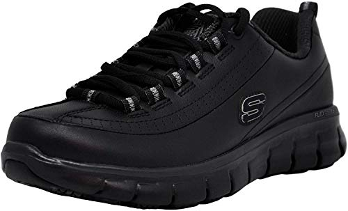 Skechers for Work Women's Sure Track Trickel Slip Resistant Work Shoe, Black, 8 M US