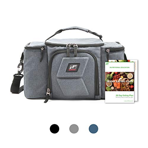 RitFit Upgraded Meal Prep Lunch Bag with 3 BPA-free Containers for Men and Women, Fitness Insulated Lunch Box for Gym, Work, and Trips, Come with Shoulder Strap, 2 Ice Packs and 2 Free Recipe books