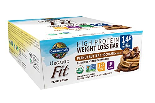 High Protein Bars for Weight Loss - Garden of Life Organic Fit Bar - Peanut Butter Chocolate (12 per carton) - Burn Fat, Satisfy Hunger and Fight Cravings, Low Sugar Plant Protein Bar with Fiber