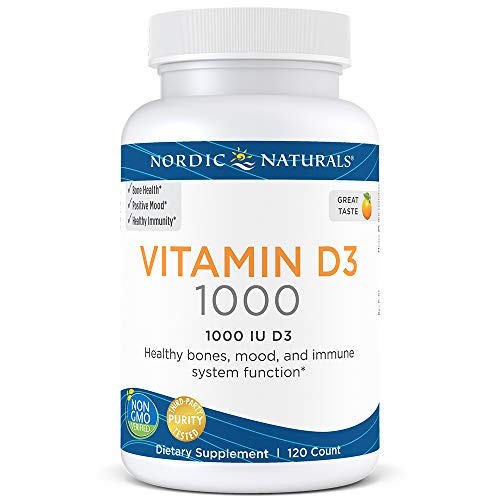 Nordic Naturals Vitamin D3-25 mcg (1000 IU), Daily Dose of Vitamin D3 Supports Bone Health and Immune System Function, Helps Regulate Mood and Sleep Rhythms*, Orange, 120 Count