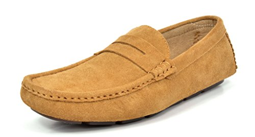Bruno Marc Men's Lane-01 Tan Suede Leather Penny Loafers Moccasins Shoes - 8.5 M US