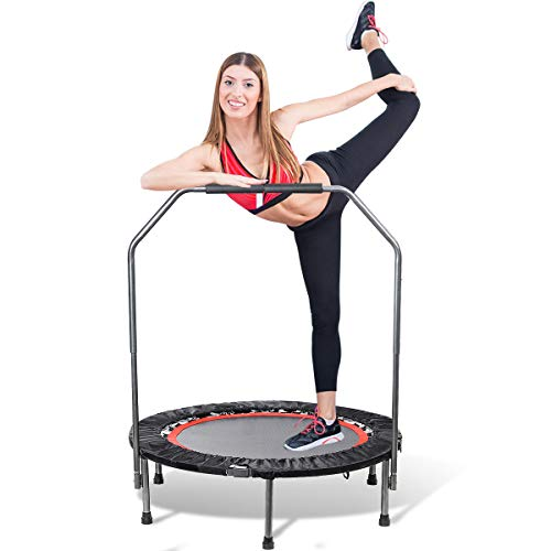 TOOCA 40' Mini Trampoline, Foldable Rebounder Trampoline, Exercise Trampoline with Adjustable Foam Handle, Mini Trampoline for Adults Kids Indoor/Garden, Workout Max Load 330 lbs