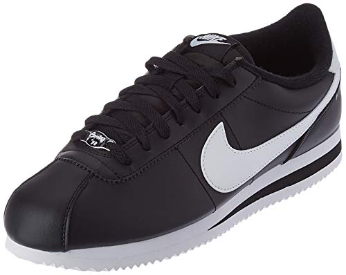 Nike Men's Classic Cortez Leather Running Shoes, Black/Mettalic Silver/White, 10.5