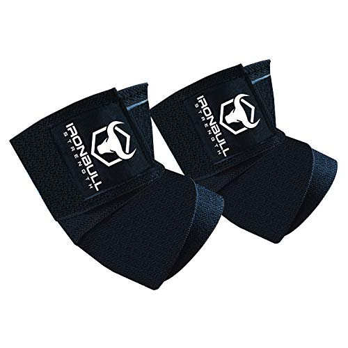 Iron Bull Strength Elbow Wraps (1 Pair) - 40' Elastic Elbow Support & Compression - for Weightlifting, Powerlifting, Fitness, Cross Training & Gym Workout - Elbow Straps for Weight Lifting (Black)