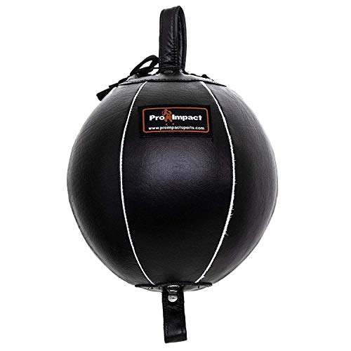 Pro Impact Genuine Leather Double End Boxing Punching Bag - Speed Striking & Dodge Training Ball - Includes Cords & Hooks for Gym Workout MMA Muay Thai (9 Inch)