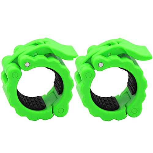 Disens Olympic Weight Bar Clamps 2 Inch,Non-Slip Barbell Clips Quick Release Standard Bar Collars 2'' for Gym Workout Bodybuilding Pack of 2 Green