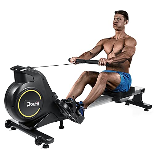 Rowing Machines for Home Use Foldable, Doufit RM-01 Magnetic Row Machine Exercise Equipment with Aluminum Rail, Transport Wheels, LCD Monitor & 8 Resistance Settings