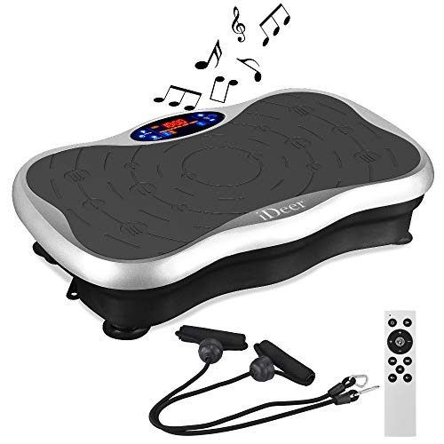 IDEER LIFE Vibration Platform Exercise Machines Whole Body Workout Vibration Plate w/Loop Bands Remote Control and Music Speaker Vibration Trainer for Weight Loss & Toning Max Load 300lbs