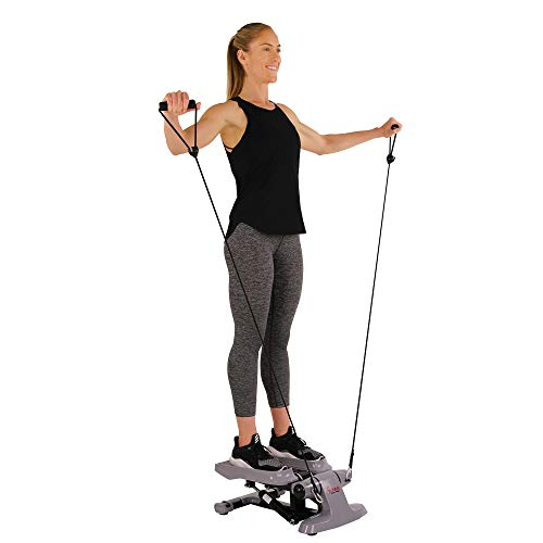 Sunny Health & Fitness Versa Stepper Step Machine w/Wide Non-Slip Pedals, Resistance Bands and LCD Monitor - SF-S0870, Grey