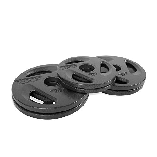 CAP Barbell Olympic Grip Weight Plates 50 Lbs Set, (4) 10 Lbs Plates and (2) 5 Lbs Plates, Olympic Plate Sets, Olympic Plate Weights (Bundle 2)