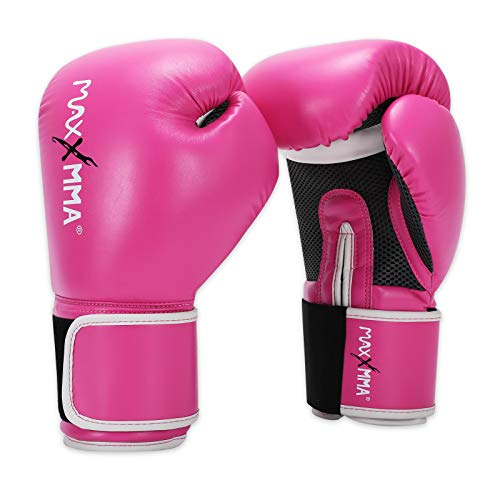 MaxxMMA Pro Style Boxing Gloves for Men & Women, Training Heavy Bag Workout Mitts Muay Thai Sparring Kickboxing Punching Bagwork Fight Gloves (Pink, 10 oz.)