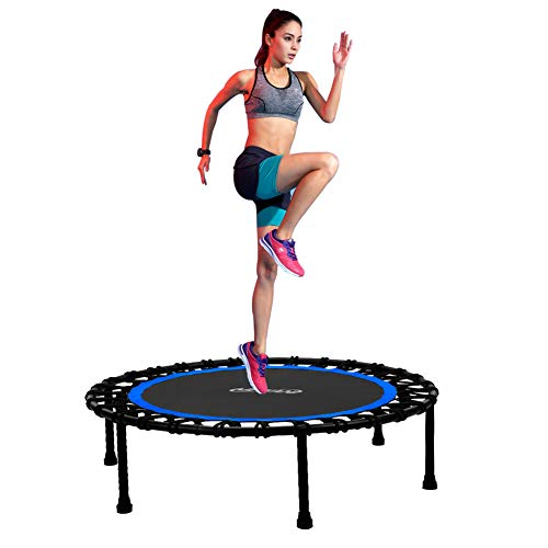 Newan 40'' Silent Fitness Mini Trampoline - Indoor Rebounder for Adults - Best Urban Cardio Jump Fitness Workout Trainer, Covered Bungee Rope System - Max Limit 550 lbs