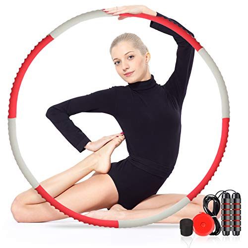 Slimerence Hoola Hoop for Adults & Kids, Weighted Hoola Hoop for Fitness, Detachable Adjustable Size Weight Soft Exercise Hula Hoop for Bodybuilding Weight Loss Fingerprint