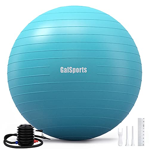 GalSports Exercise Ball (45cm-75cm), Anti-Burst Yoga Ball Chair with Quick Pump, Stability Fitness Ball for Birthing & Core Strength Training & Physical Therapy (Turkis, M (48-55cm))