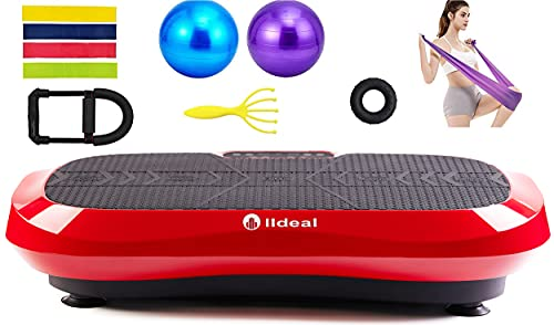 lldeal Ultra Thin Third Generation Vibration Plate Exercise Machine -(Tensile Device, w/Loop Band, Two Yoga Ball, Muscle Massager) Vibrate Platform Equipment for Weight Loss &Fitness (Black&Red)