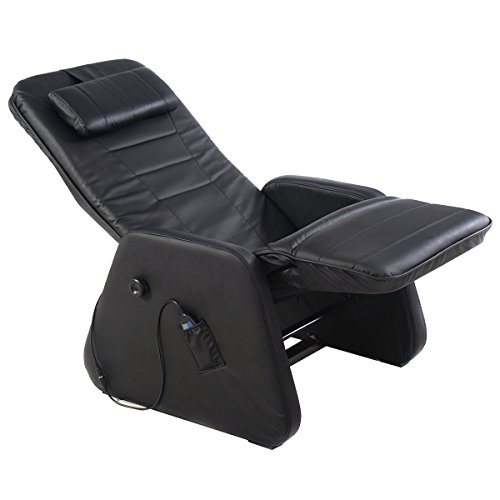 Living Room Chair Zero Gravity Electric Massage Recliner PU Leather with Controller Black