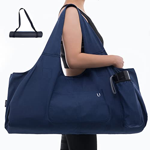 Uhawi Yoga Mat Bag Large Yoga Mat Tote Sling Carrier with 4 PocketsFits Mats with Multi-Functional Storage Pockets Light and Durable(with Yoga Mat Carrying Strap) (Dark Blue)