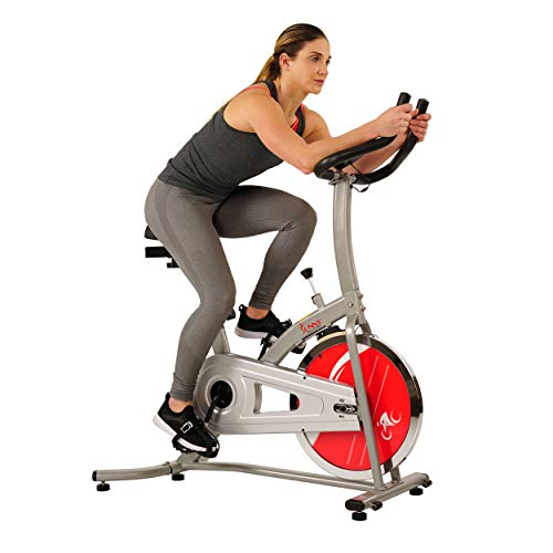 Sunny Health & Fitness Indoor Cycle Exercise Stationary Bike with Digital Monitor, 22 LB Chromed Flywheel, 220 LB Max Weight (Chain/Felt Resistance)