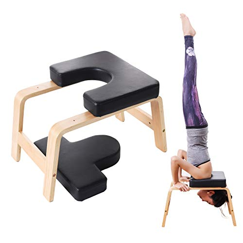 XgnoDeZ Yoga Headstand Bench, Inversion Chair Strength Training for Meditation Fitness Gym Workout Stool, Black
