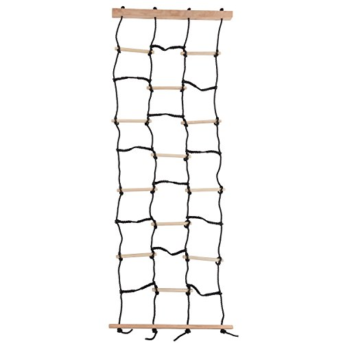 Kids Climbing Cargo Net With Nylon Rope and Wooden Dowels- Fun Outdoor Toy for Balance, Coordination and Strength for Boys and Girls By Hey! Play!
