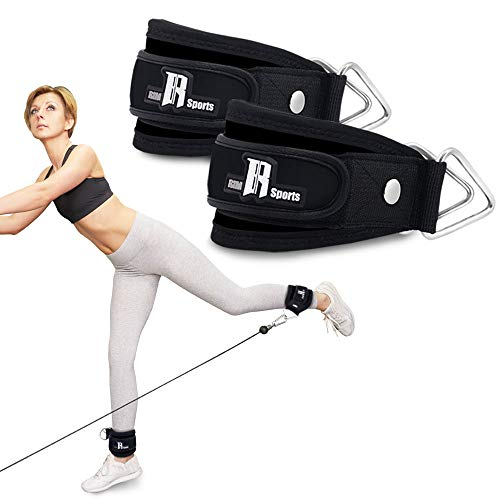Pair of Premium Quality Ankle Strap For Kickback Cable Machines Best Ankle Cuff For Leg Workout Equipment - Cuffs For Leg Exercise And Workout Machine - Ideal Ankle Cable Strap For Men And Women Black