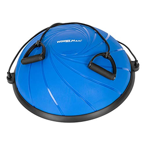 Yoga Balance Trainer Exercise Ball with Resistance Bands, Half Dome Stability Ball Home Fitness Strength Exercise Workout with Pump (Navy Blue)