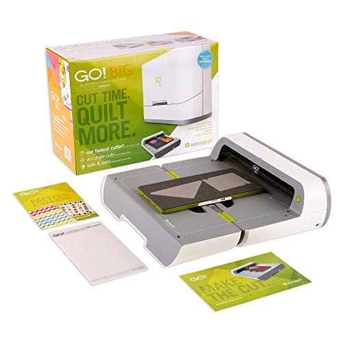 """AccuQuilt GO! Big Electric Fabric Cutter Starter Set with GO! Big Electric Fabric Cutter, GO! Flying Geese Die, 6"""" x 12"""" Cutting Mat and a 20 Page Pattern Booklet."""